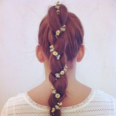 14 Braided Hairstyles——Stylish Braids with Flowers [post_tags My Hairstyle, Ponytail Hairstyles, Pretty Hairstyles, Wedding Hairstyles, Ponytail Ideas, Beach Hairstyles, Simple Hairstyles, Formal Hairstyles, Celebrity Hairstyles