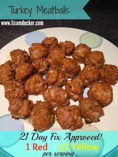 Turkey Meatballs, 21 Day Fix, 21 Day Fix Extreme Recipes