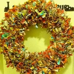 Fabric wreath... Made with warm colors for mother in law.