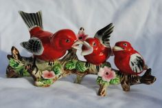 tanager birds on a branch shabby figurine