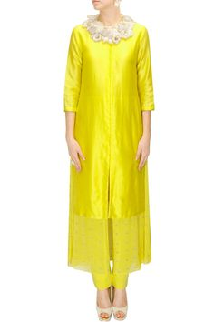 INTRODUCING - Yellow layered embroidered kurta set with floral necklace by Saumya & Bhavini. #new #designer #fashion #couture #shopnow #perniaspopupshop #happyshopping