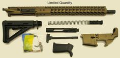 Burnt Bronze AR15 Rifle Kit WITH 80% Stripped Lower Receiver 16″ M4 Feed Ramp Nitride 1×7 (Includes