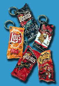 shrinking chip bags in the oven to make keyrings---BRILLIANT!!
