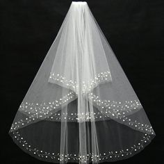 >> Click to Buy << JAEDEN Bridal Veils Two Layers Cut Edge Light Ivory Floral Vine Decoration Combination of Pearls Beads Wedding Accessory V031 #Affiliate