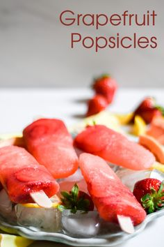 Try these delicious Grapefruit Strawberry Popsicles made with freshly squeezed grapefruit, lemon juice, and strawberries. These fruity popsicles are healthy frozen treats to beat summer! Delicious Fruit, Tasty, Coconut Popsicles, Filipino Desserts, How To Squeeze Lemons, Frozen Treats, Healthy Desserts, Grapefruit, Strawberries