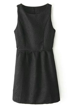 ROMWE | ROMWE Floral Embossed Zippered Pleated Sleeveless Black Dress, The Latest Street Fashion