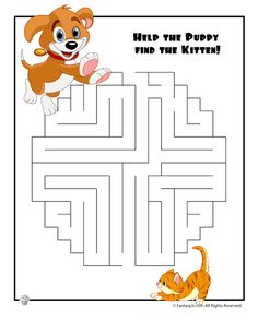 9 easy mazes to print, with adorable cartoons to make them fun for little kids!