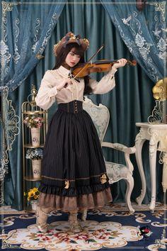 The Florentine Traveller~ College Style Lolita Blouse+Vest+Skirt -Ready Made Moda Lolita, Estilo Lolita, Gothic Lolita Dress, Lolita Style, Suit Fabric, Dress With Cardigan, College Fashion, College Style, Moda Fashion