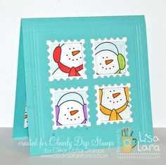 Postage Flakes Card - click to find out how to make it using digi stamps and Spellbinders dies.
