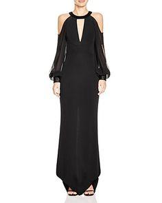 ABS by Allen Schwartz Cold-Shoulder Cutout Front Gown   Bloomingdale's