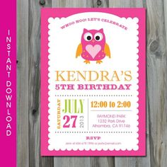 Owl Invitation INSTANT DOWNLOAD Self by CharliesPrintables on Etsy