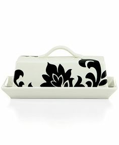 Martha Stewart Collection Lisbon Black Covered Butter Dish