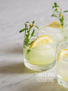 Sweet Pea Cocktail -  sweet peas, lemon, cucumber, light rum, st. germain