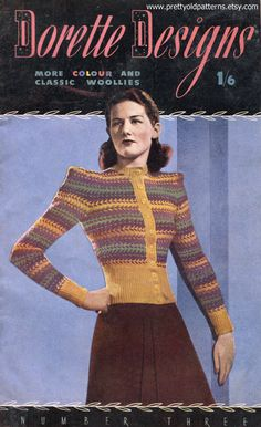 Dorette Designs Number 3 12 Designs Scarce 1946 Vintage Knitting Book Download mid 40s sweater pattern color photo print ad yellow green purple cardigan