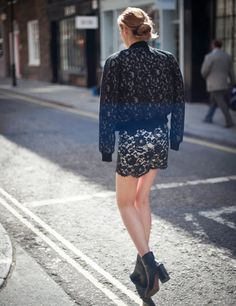 We love how Team Elle wear lace - MGSM lace bomber jacket available at Harvey Nichols