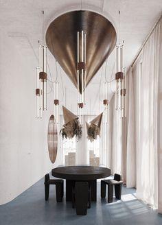 Juniper Lighting — Asthetíque Chinese Interior, Modern Interior, Interior Architecture, Interior Design, Dj Lighting, Lighting Design, Luxury Apartments, Lamp Design, Beautiful Interiors