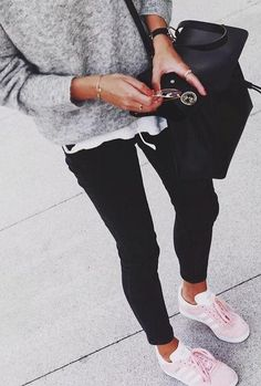 black. white. grey. everyday style. pink adidas trainers.