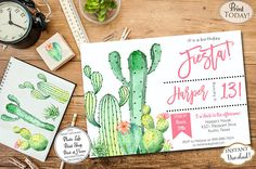 Fiesta Time! Invite your guest to a cacti inspired fiesta party with piñata and colorful mocktails perfect for all the guests small and big. Our invitations are easy to edit in Acrobat Reader. INSTANT DOWNLOAD Watercolor Cactus and succulent Southwest Invite,  Cinco De Mayo birthday party printable invitations. Find more coordinating printables at JanePaperie: https://www.etsy.com/shop/JanePaperie