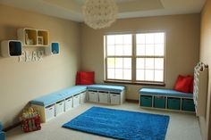 Playroom - DIY toy storage benches with upholstered seats!