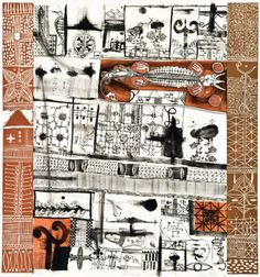 John Pule Mana He Aga, Manako 2006 Lithograph and woodcut on paper. All these NZ artists'images are from Real Art Roadshow Art And Illustration, Illustrations, Auckland Art Gallery, Composition Art, New Zealand Art, Nz Art, Maori Art, Artist Sketchbook, Painting Collage