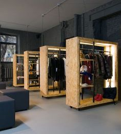 Magazin -Zing in Moscow - OSB wooden panels Retail Store Design, Retail Shop, Retail Displays, Shop Displays, Merchandising Displays, Window Displays, Commercial Design, Commercial Interiors, Retail Interior