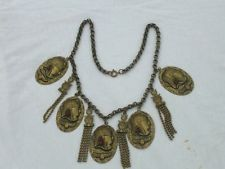 Victorian Pharaoh Egyptian Scarab Beetle Repousse Necklace Jewelry