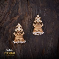 Bell shaped designer rasika earrings studded with synthetic zircon stones & plated with antique gold polish made of pure 925 silver. Dainty Jewelry, Wedding Jewelry, Antique Jewelry, Antique Gold, Gold Jewelry, Gold Earrings Designs, India Jewelry, Small Earrings, Wedding Earrings