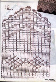 Crochet Knitting Handicraft: Barradinhos On 2 18 Filet Crochet, Crochet Borders, Crochet Diagram, Crochet Chart, Crochet Motif, Crochet Stitches, Crochet Patterns, Crochet Edgings, Crochet Home