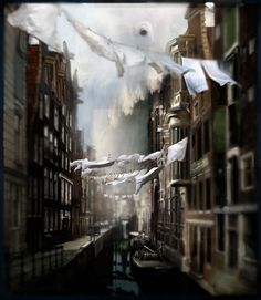 Storm Raging Through by Chris Berens: Amsterdam @ Jaski Gallery. watercolor ink and graphite on paper on wood panel.— Daily Art Fixx - a little art, every day