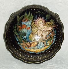 """Russian Lacquer Box Palekh """" Mermaid with Octopus """" Hand Painted 