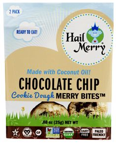 Hail Merry Chocolate Chip Cookie Dough Merry Bites / Bag) 12 per case Gourmet Recipes, Real Food Recipes, Hail Merry, Chocolate Chip Cookie Dough, How To Eat Paleo, Macaroons, Junk Food, Coconut Oil, Healthy Snacks