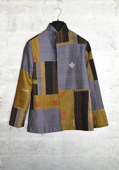 Alternate chevron jacket in a patchwork of Japanese vintage silks.