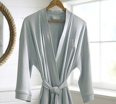 Monogrammed Robes for the Bridal Party.  Lightweight Organic Robe #potterybarn