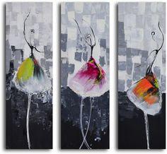 "Amazon.com - Hand Painted ""Tutu trio"" 3 Piece Canvas Set - Oil Paintings"
