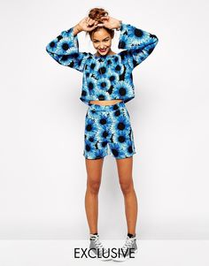 Image 1 ofMilk It High Rise Shorts In Sunflower Festival Floral Print Co-ord