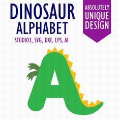 Dinosaur alphabet letters digital cutting files, ai, EPS, SVG, DXF, studio3 vector files for cricut, silhouette cameo vinyl, decals