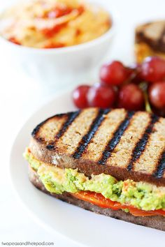 Roasted Red Pepper Hummus, Avocado, and Feta Sandwich