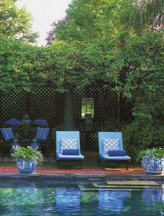 I miss my pool and love this the colors in this shot. Outdoor Rooms, Outdoor Gardens, Outdoor Living, Outdoor Ideas, Outdoor Tables, Outdoor Fun, Patio Ideas, Outdoor Decor, Porches