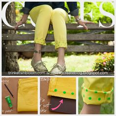 We love polka dots! #DIY Jeans with printed cuffs by @Cathy Attix & @ILoveto Create #upcycle
