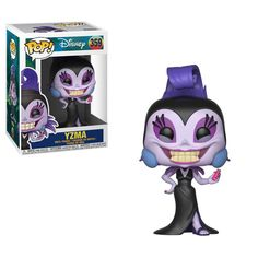 Pop! Disney: The Emperor's New GrooveDisney's The Emperor's New Groove is our latest edition to Pop! The sneaky teenaged emperor Kuzco, the loveableand caring Pacha, and the easily distracted Kronk.Rounding out the series comes the villainess Yzma,shown in her black and purple dress Look for the glow in the dark chase piece of Yzma.A rarity of 1 in 6! Look for Kuzco transformed into a llama,found exclusively at Hot Topic!Coming in February!