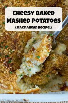 Enjoy a stress free holiday by making these cheesy baked mashed potatoes – they can be made completely ahead and then just bake before you're ready to eat. The crispy breadcrumb topping is the best part! Baked Mashed Potatoes, Making Mashed Potatoes, Good Food, Yummy Food, Delicious Recipes, Crispy Sweet Potato, Potato Sides, Clean Eating Meal Plan, Just Bake