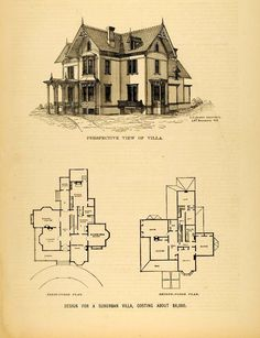 This is an original 1878 halftone print of an architectural sketch of a Suburban Villa design costing about $ 8,000 including the perspective elevation, and first and second floor plans.