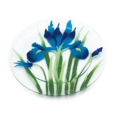 Fusion Art Glass 11-Inch Round Plate with Iris Design by Pavilion Gift company. $37.72. Dishwasher safe. Iris sky design. 11-inch round plate. Fusion Art Glass is a timeless treasure of beauty, art and function perfect for the home. This design is made from an intricate process of stenciling layers of powered enamel on a glass surface. After the design is tediously created, another piece of glass is placed on top and kiln fired for upwards of 20-hour; fusing all of the glas...
