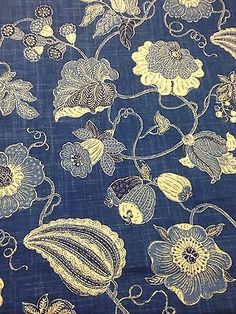 P. Kaufmann Blue Floral Printed Fabric, 8.75 Yd Piece