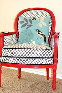 Finding Fabulous: Chic Chair Revamp!  Love it.  Love it.  Love it.  The glossy red.  the bold fabric.  the turquoise pillow.