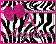 Personalized Poster Print ZEBRA Wall Art Girl Room Decor Nursery Hot Pink Bow