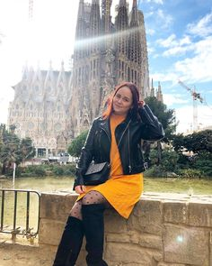 ROXANE - Travel : Discovering Barcelona and the Sagrada Familia. Loving this fall/winter look featuring a yellow dress, black leather jacket, dotted tights and overknee boots. Yellow Dress, Dress Black, Winter Looks, Fall Winter, Over The Knee Boots, Chloe, Rain Jacket, Barcelona, Windbreaker