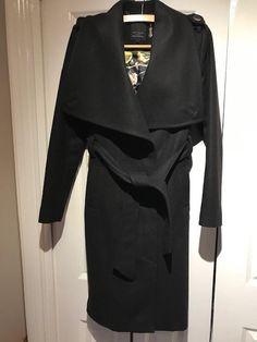 SAMYA PLUS SIZE CHECKED PRINT DUFFLE LONG COAT BLACK WHITE RRP  £60.00