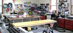 Wall Control metal pegboard and slotted tool board accessories being put to work here in this very nice woodworking shop.