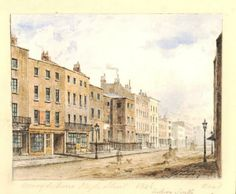 View of Marylebone High street, looking south; a man with his dog and a man riding a horse depicted very faintly on the street. 1848 British Museum, Crace Collection 1880,1113.4669, AN782270